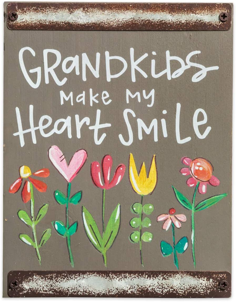 Brownlow Gifts Gray Wood Block Sign Wall Décor, 5.5 x 7-Inches, Grandkids