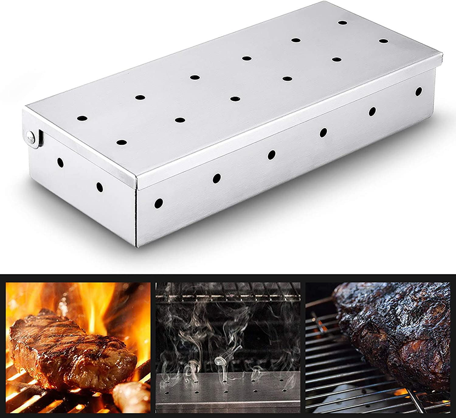 WHIFEA Stainless Steel Smoker Box for Wood Chips, BBQ Smoke Flavor, Top Meat Thick Smoker Box in Barbecue Grilling Accessories, Use a Gas or Charcoa Barbecue Grilling Accessories