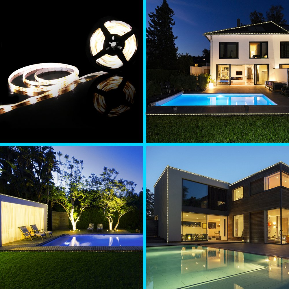 Solar LED Strip Lights 5m FKANT IP65 Waterproof LED Christmas Lights with 2 Light Modes and 3M Tape Intelligent Light Sensor Service Life Up to 20000 Hour for Outdoor Decoration