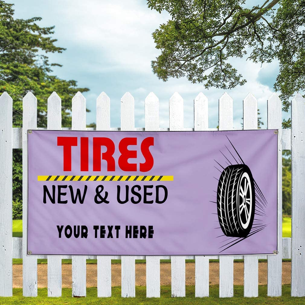 Custom Industrial Vinyl Banner Multiple Sizes Tires Sold Here Personalized Text Automotive Outdoor Weatherproof Yard Signs Yellow 4 Grommets 12x30Inches