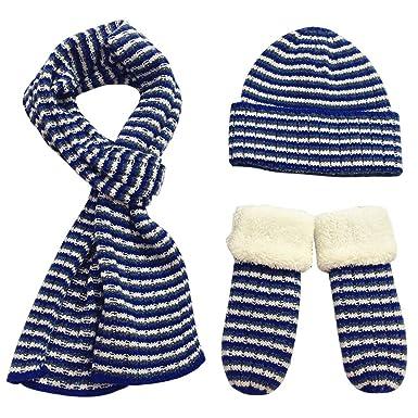 FEOYA Ensemble 3 Pcs Bonnet Echarpe Gants Tricoté Chapeau Chaud pour Enfant  Garçon Fille Hiver b4ee19bc257