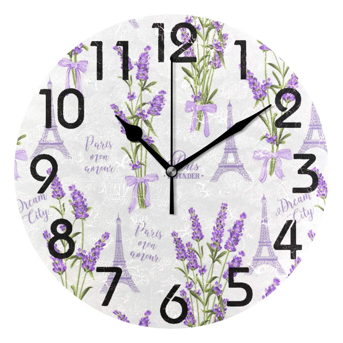 Dozili Stylish Fresh Lavender Flowers and Eiffel Tower Pattern Round Wall Clock Arabic Numerals Design Non Ticking Wall Clock Large for Bedrooms,Living Room,Bathroom
