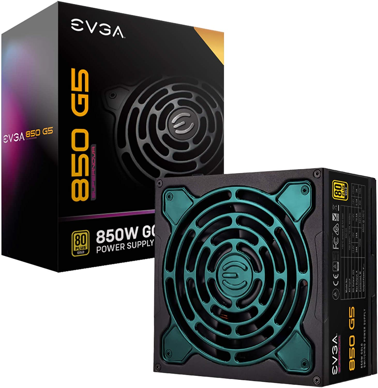 EVGA Supernova 850 G5, 80 Plus Gold 850W, Fully Modular, ECO Mode with Fdb Fan, 10 Year Warranty, Compact 150mm Size, Power Supply 220-G5-0850-X1