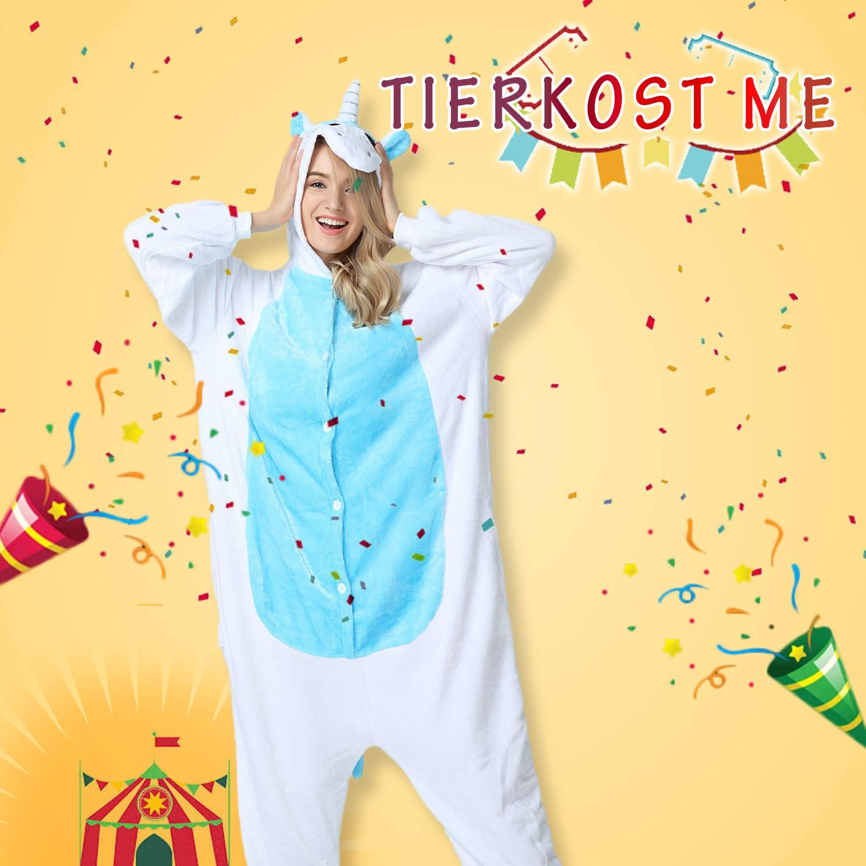 Mescara Pyjama combinaison Kigurumi Pyjama Pyjama Costumes pour adulte Unisexe Polaire Animal Halloween,Bleu Fonc/é,XL