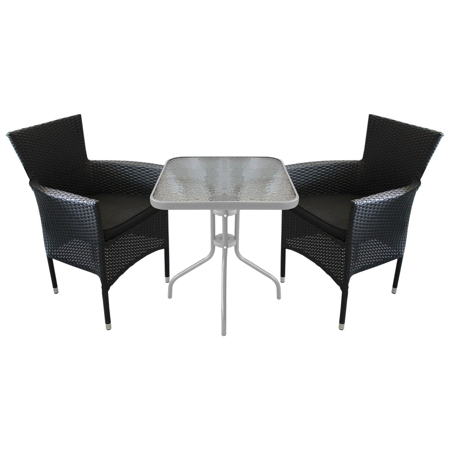3tlg balkonm bel bistro set glastisch 60x60cm 2x poly rattan stapelsessel inkl sitzkissen. Black Bedroom Furniture Sets. Home Design Ideas