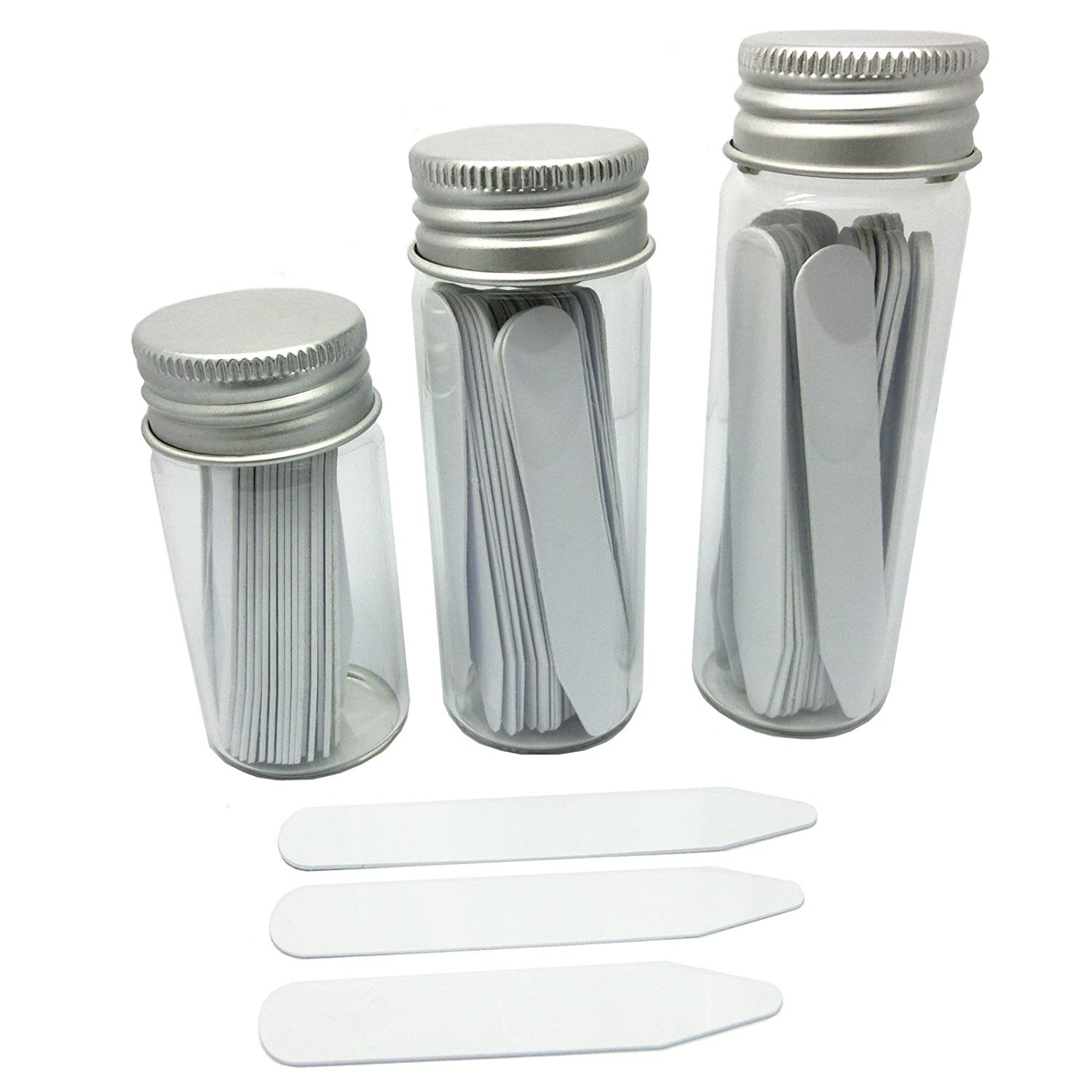 Shang Zun 84 Pcs Plastic Collar Stays in 3 Glass Bottles, 2