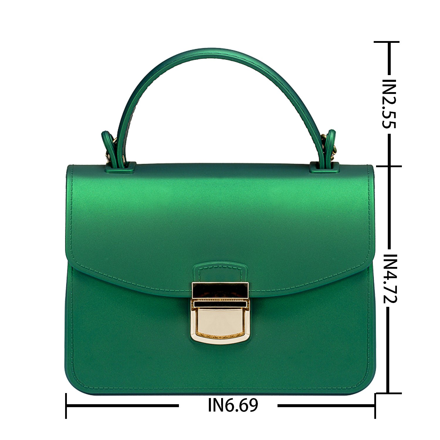 Small Top Handle Handbags Jelly Satchel Bags for Women Tote Purse - Green by Chrysansmile (Image #4)