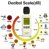 Decibel Meter Sound Meter 30-130 dB Noise Meter Max/Min/Data Hold Sound Level Reader LCD Display and Backlight Digital Sound Level Meter Flashlight Audio Noise Volume Measuring Monitoring Instrument