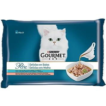 Purina Gourmet Perle Delicias en Salsa Salmon y Atun 12 x [4 x 85 g]: Amazon.es: Productos para mascotas