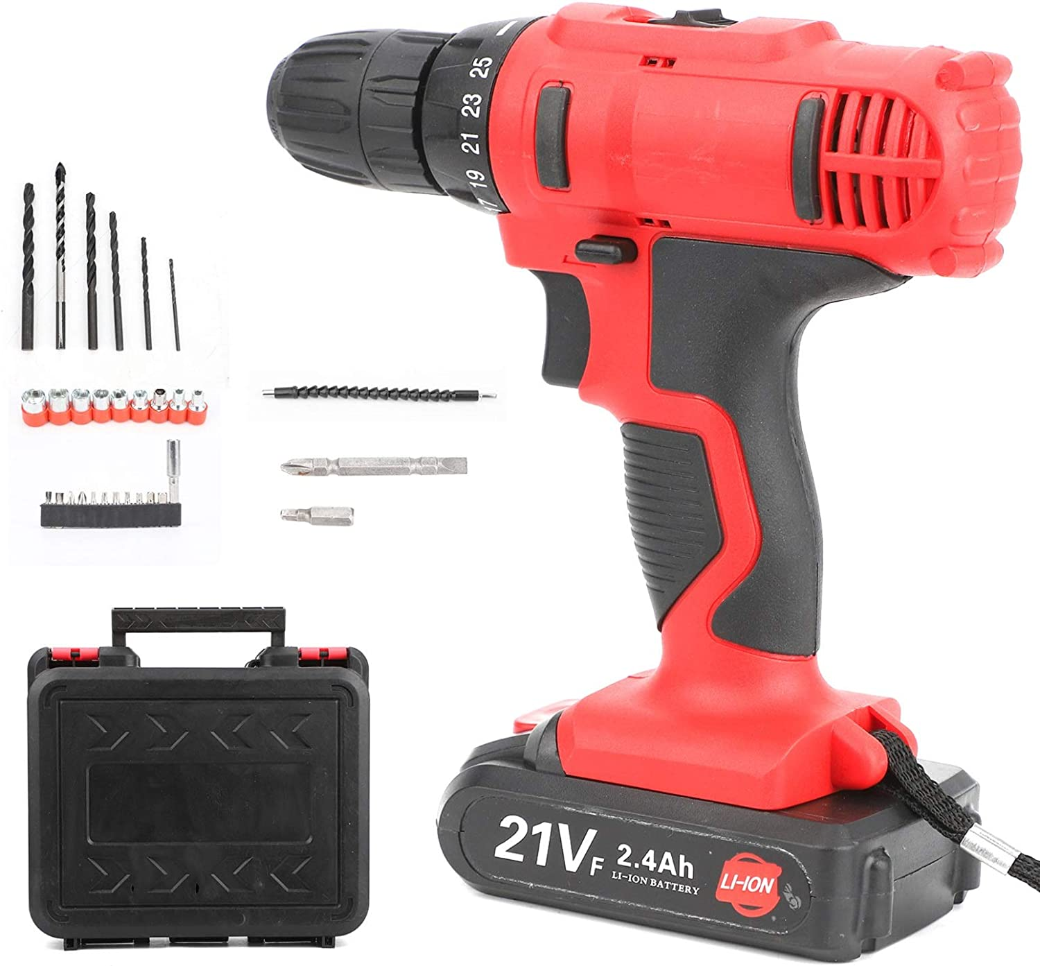 ColdShine 21V Cordless Combination Drill Dual Speed Lithium Ion Fast Charging Electric Screwdriver Rechargeable Cordless Drill Driver Combination Electric Drill Compound Drill Bit