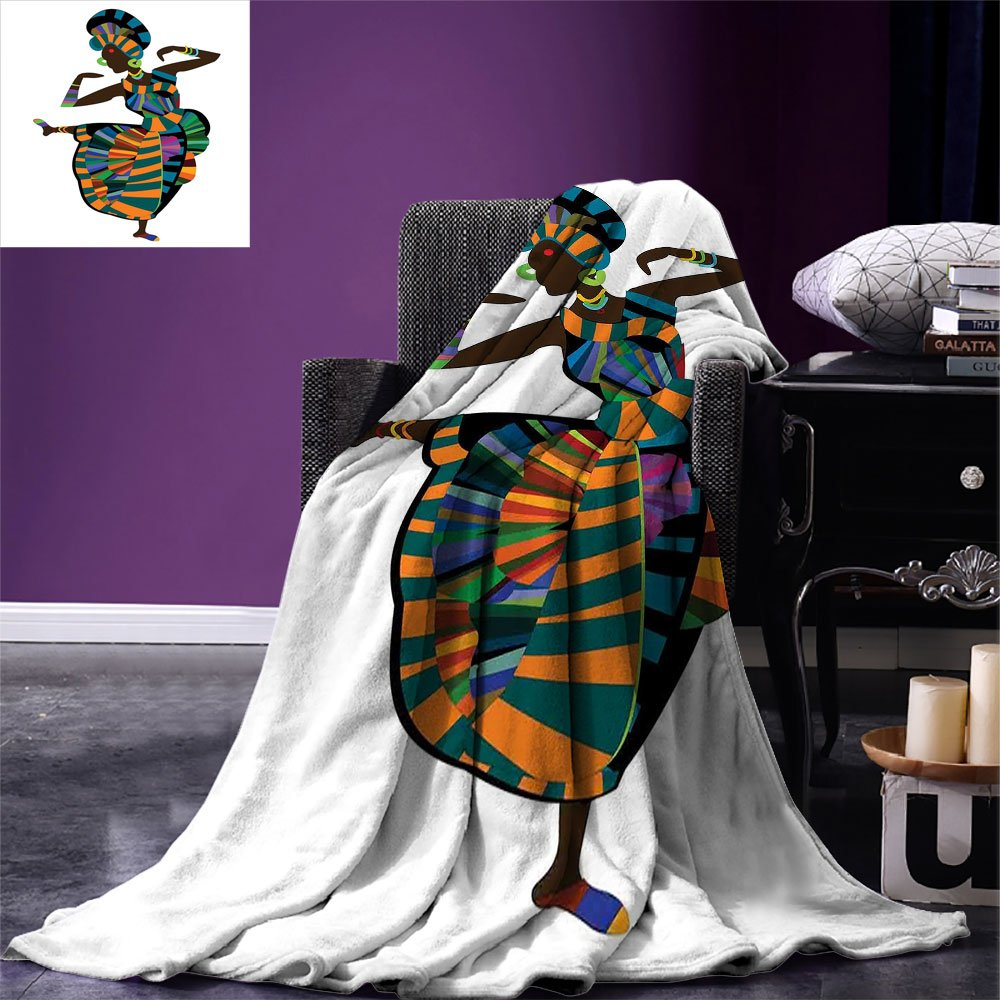 smallbeefly African Woman Digital Printing Blanket Black Girl in a Traditional Dress Performing an Ethnic Dance Native Zulu Summer Quilt Comforter Multicolor