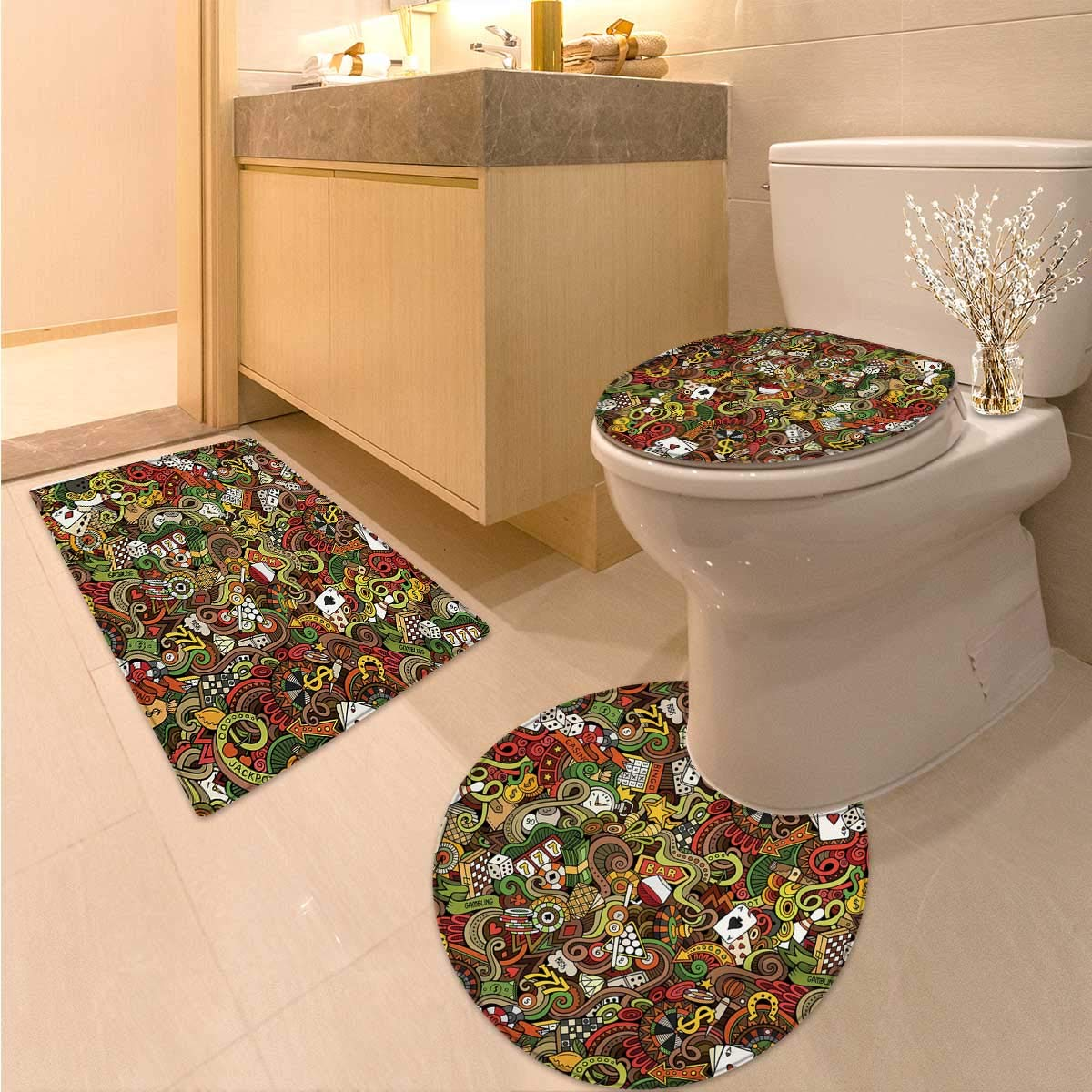 Anhuthree Casino Toilet Floor mat Set Doodles Style Artwork of Bingo and Cards Excitement Checkers King Tambourine Vegas Printed Bath Rug Set Multicolor by Anhuthree