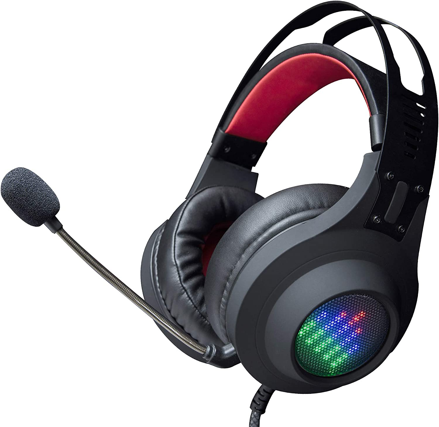 PS4 Gaming Headset, Sauker Gaming Headphone with Virtual 7.1 Surround Sound, USB Computer Headset with Microphone, Easy Volume Control, Dynamic LED Lights for PS4, Mac, PC Win7, Win8, Win10