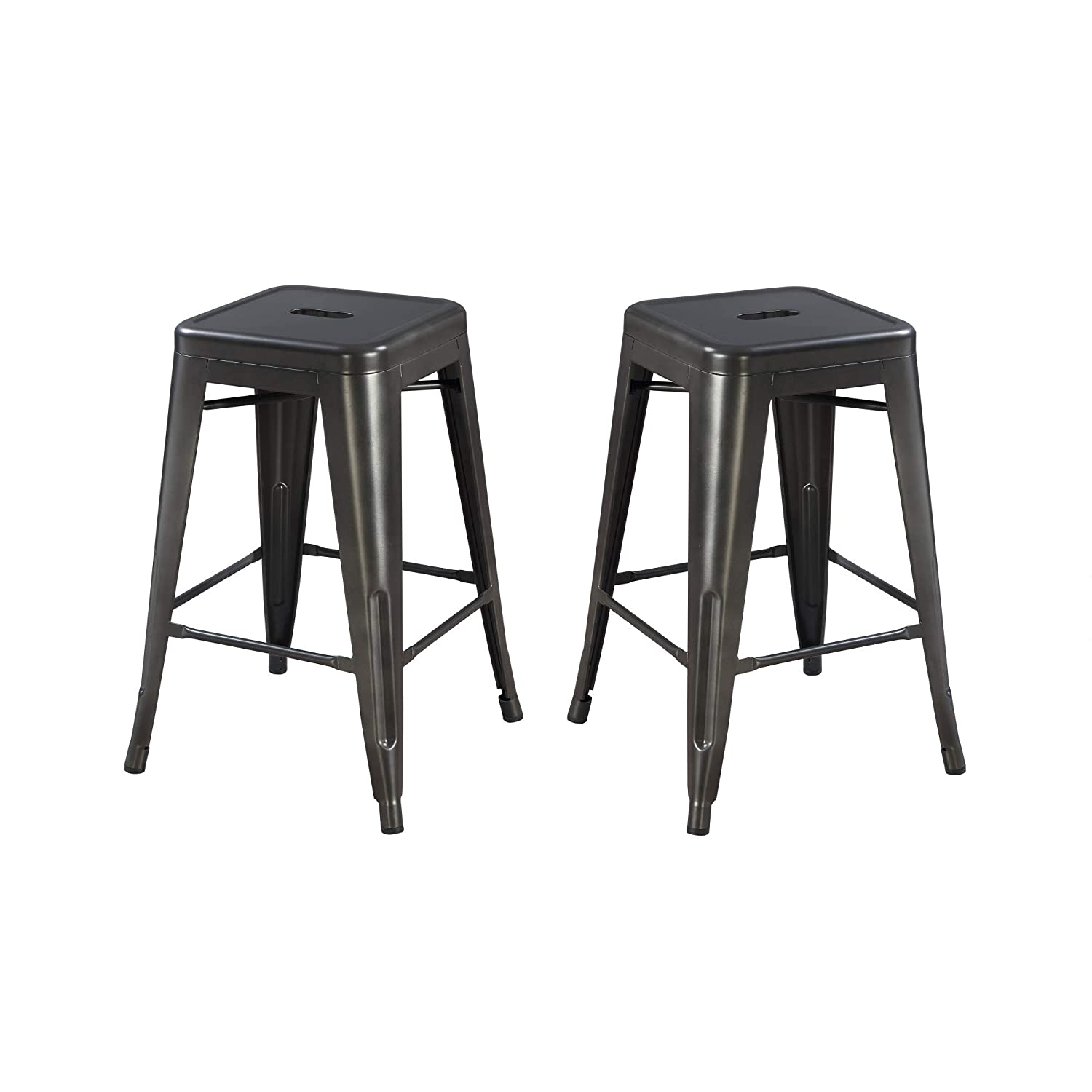 Archer 24 Bar Stool in Sleek Charcoal with All Metal Seat And Frame, Set of Two, by Artum Hill