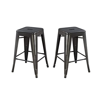 Awe Inspiring Archer 24 Bar Stool In Sleek Charcoal With All Metal Seat And Frame Set Of Two By Artum Hill Bralicious Painted Fabric Chair Ideas Braliciousco