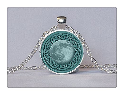 Amazon celtic moon pendant pagan necklace full moon necklace celtic moon pendant pagan necklace full moon necklace celtic knot pendant teal aqua celtic pendant aloadofball Image collections