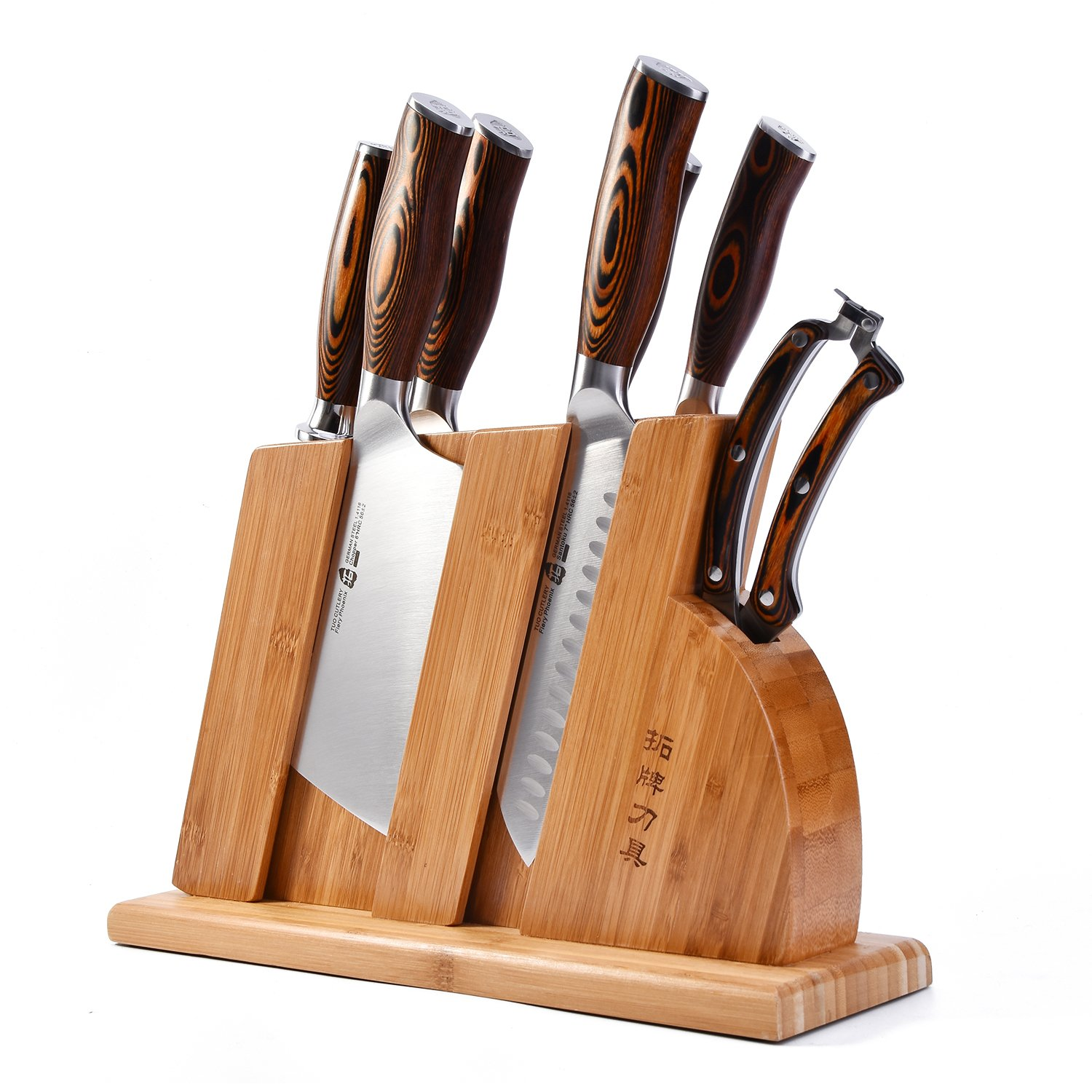 TUO Cutlery Knife Set with Wooden Block, Honing Steel and Shears-Forged HC German Steel X50CrMoV15 with Pakkawood Handle - Fiery Series 8pcs Knives Set