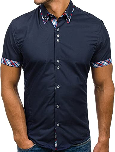 Overdose Camiseta de Hombre Oficina Cuello Alto Abajo Camisas Manga Corta Ropa Casual Verano Gran <BR>Tamaño Negro Blanco Azul: Amazon.es: Ropa y accesorios