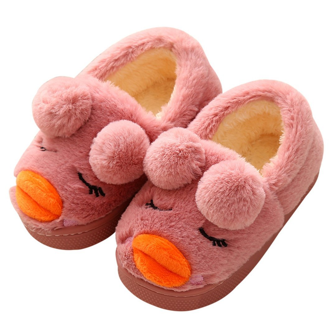JERY Small Kids Cute Fur Lined Inside Anti Slip Winter Warm Indoor/Outdoor Home Slippers