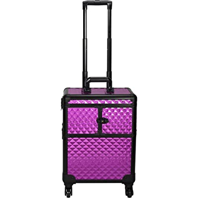 Sunrise Calleria Heavy Duty Rolling Makeup Case Professional Nail Travel Organizer Box, Purple Diamond, 16 Pound