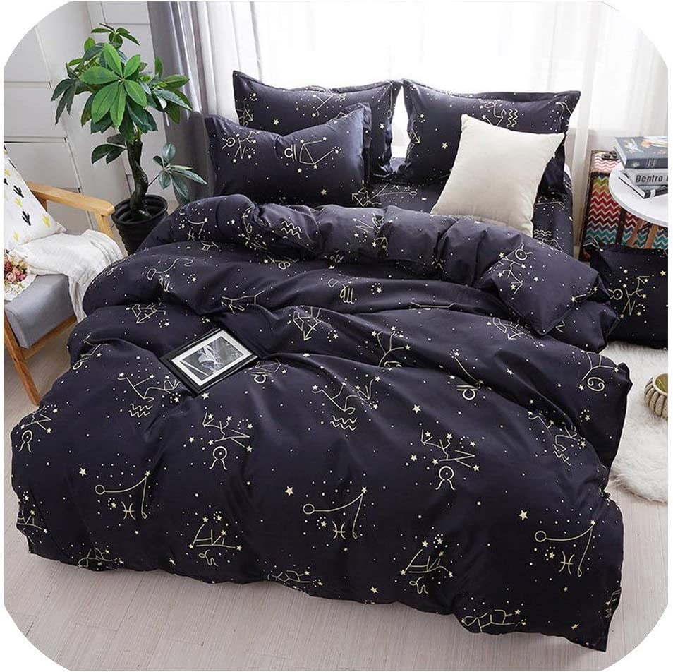 LOVE-JING Green Lemon Winter Bedding Sets Full King Twin Queen King Size 4Pcs Bed Sheet Duvet Cover Set Pillowcase Without Comforter,B6,King Cover 220By240,Flat Bed Sheet