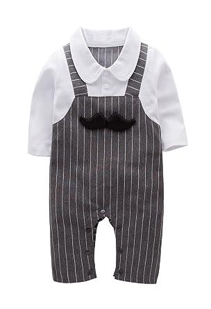 ccfd02196694 May s Baby Boys Long Sleeves Printing Bowtie Suspenders Romper Onesie