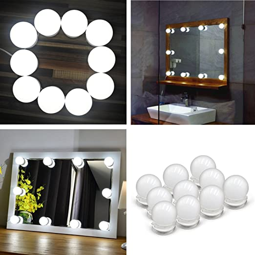 HowiseAcc Hollywood Style LED Vanity Mirror Lights Kit, 10 Dimmable Light  Bulbs And Power Plug