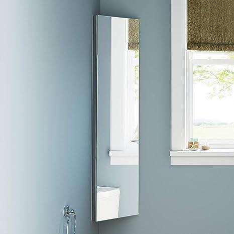 soak Hoher Eckschrank / Eckspiegel für das Badezimmer - Spiegelschrank aus  Edelstahl - 120 x 30 cm, 10 Jahre Garantie, einfache Montage