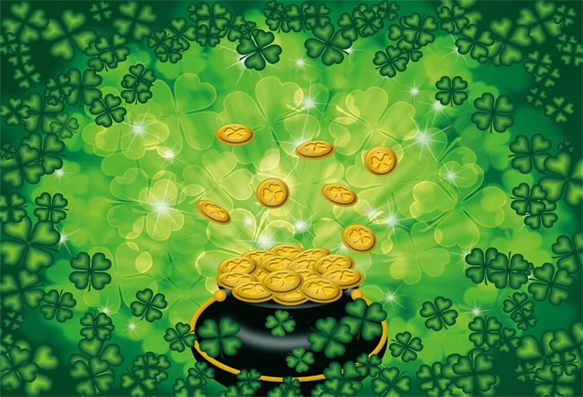 LB 10x8ft St Patricks Day Backdrop Gold Coins Lucky Shamrock Clover Rustic Wood Backdrops for Photography Kids Birthday Baby Shower Party Portrait Photo Booth Studio Props