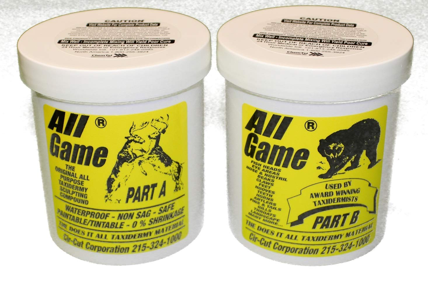 ALL GAME EPOXY PUTTY 3 POUND KIT - 2 PINTS - TAXIDERMY ARTS AND CRAFTS BY CIR-CUT CORPORATION The Original All Purpose Epoxy Putty MOLD SHAPE FILL - 1001 Uses!