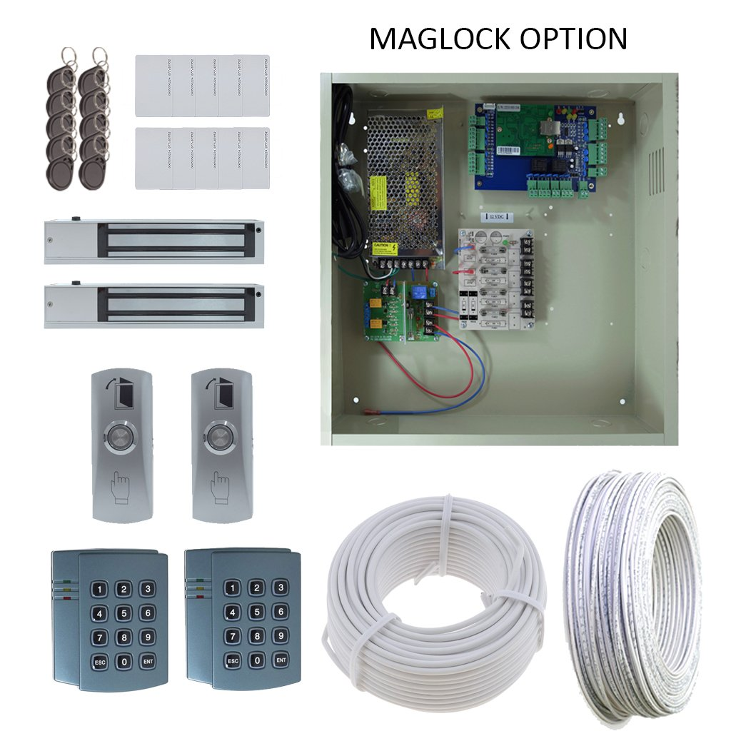 New Complete 2 Door Access Control DX Board Package with 12A Power and Maglock, Reader, Panel, Power Supply, Push to Request to Exit button, Fobs, Cards, Batter Backup and USB Reader
