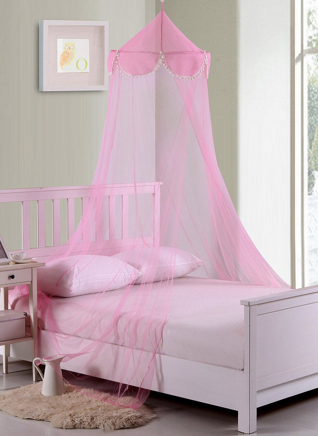 Fantasy Kids Pom Collapsible Hoop Sheer Bed Canopy, One Size, Pink Epoch Hometex inc. 5008282