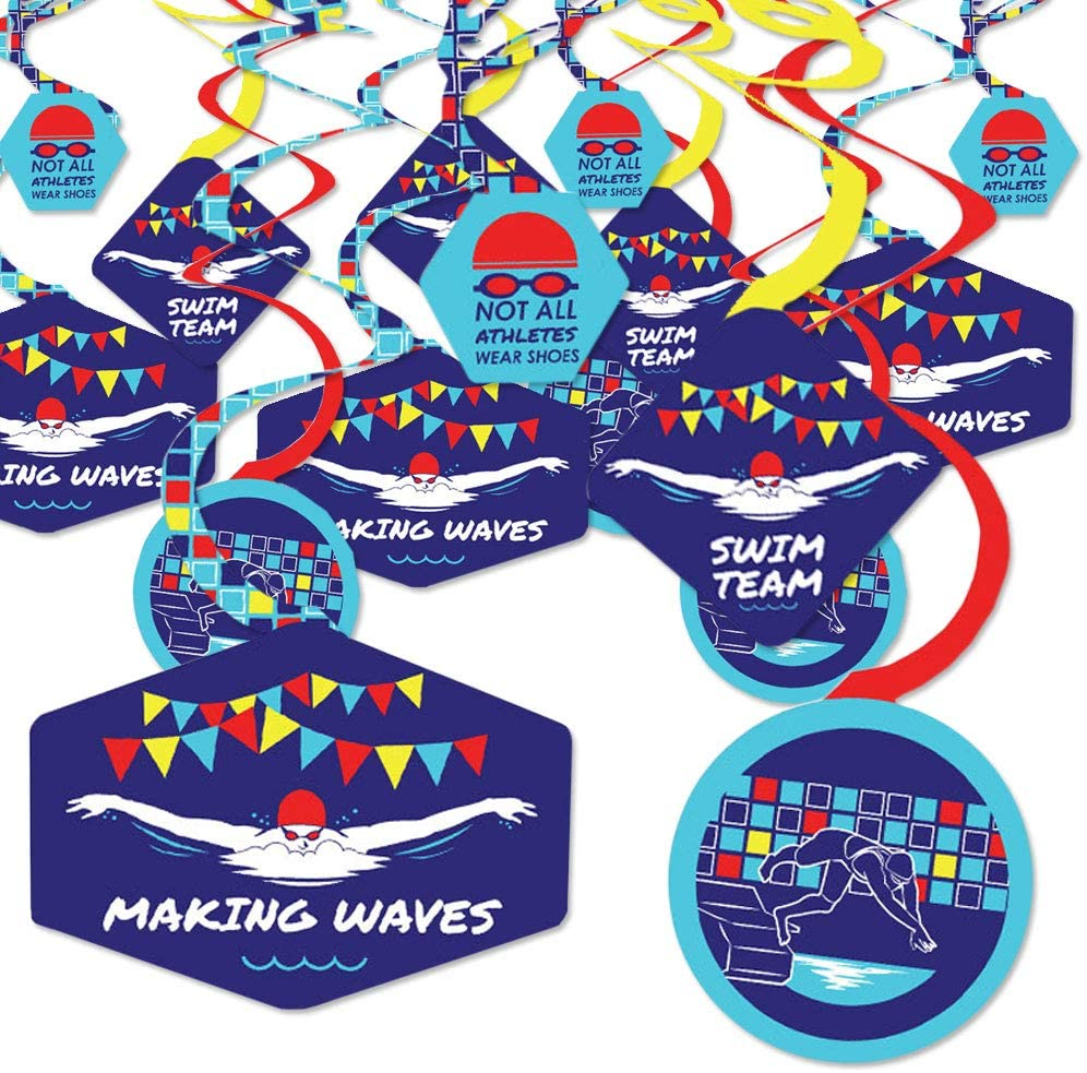 Big Dot of Happiness Making Waves - Swim Team - Swimming Party or Birthday Party Hanging Decor - Party Decoration Swirls - Set of 40