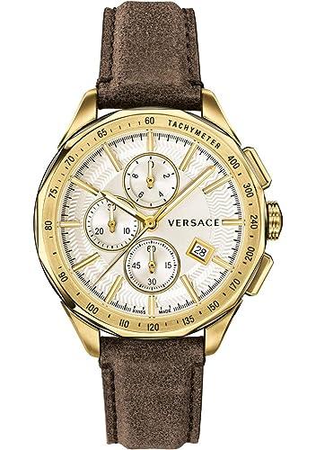 Versace VEBJ00418 - Reloj de Cuarzo para Hombre, cronógrafo Suizo, Correa de Piel marrón, Color Dorado: Amazon.es: Relojes
