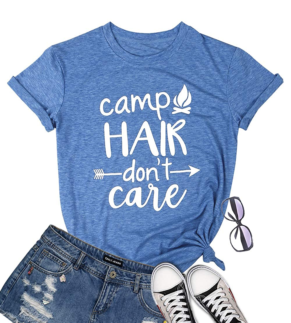 Women Camp Hair Don't Care Shirt Letter Printed Campfire Graphic T-Shirt Short Sleeve Summer Casual Camping Tee Tops