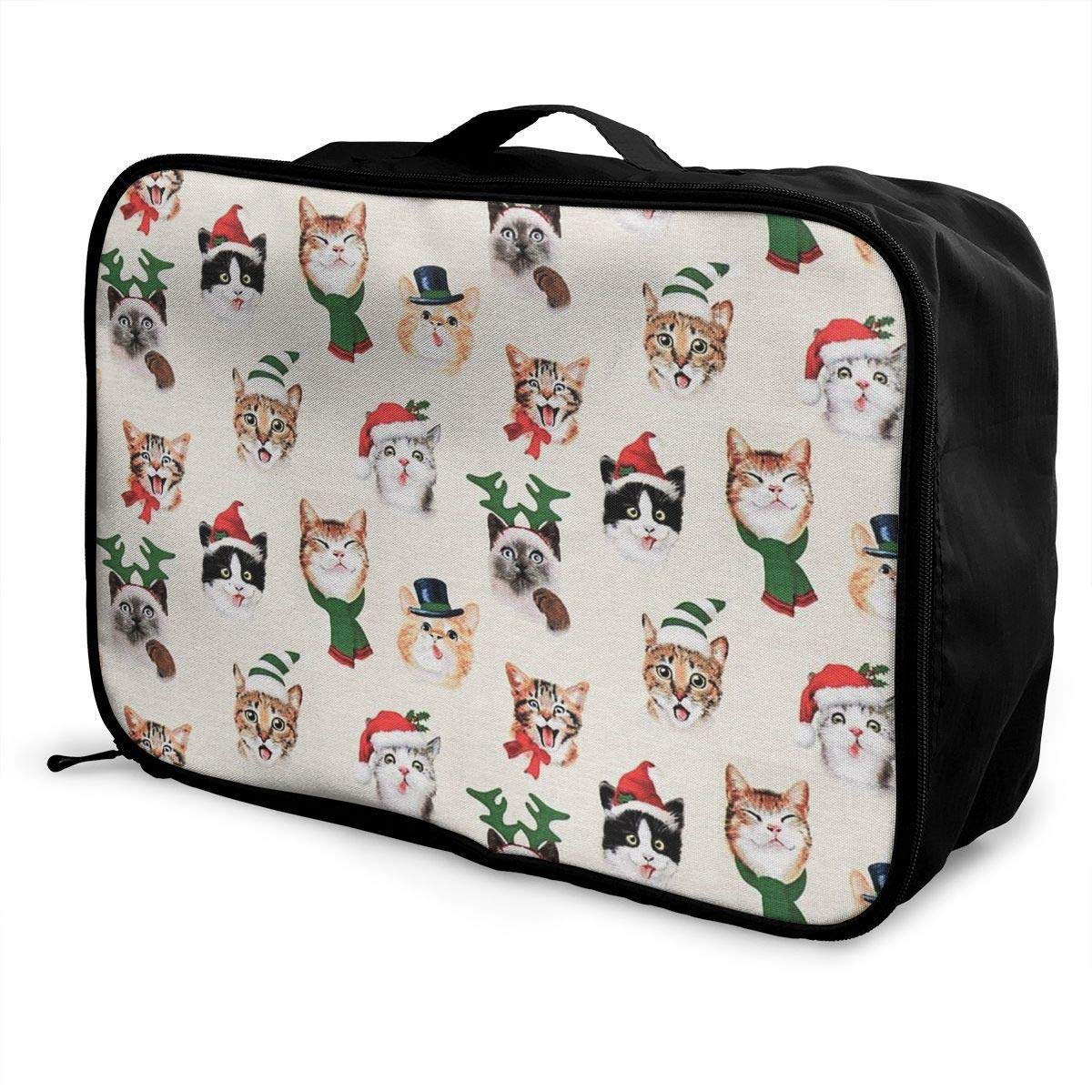 Portable Luggage Duffel Bag Christmas Cat Travel Bags Carry-on in Trolley Handle JTRVW Luggage Bags for Travel