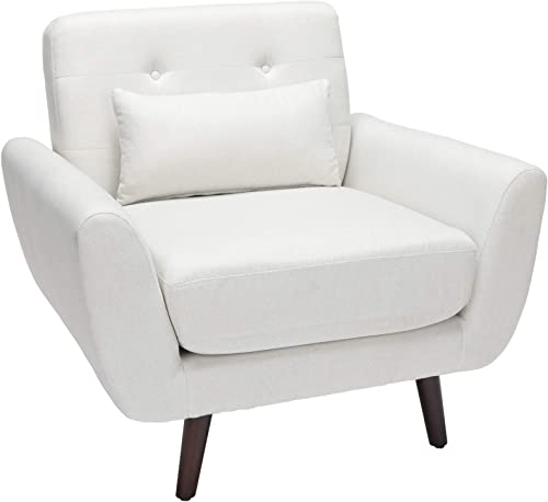 OFM 161 Collection Mid Century Modern Tufted Fabric Accent Chair with Arms and Lumbar Support Pillow, Walnut Legs, in Light Gray 161-FLC2-BGE