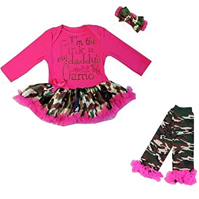 Baby I'm the Pink in my daddy's world of Camo Hot Pink Bodysuit Tutu Leg Warmers Set