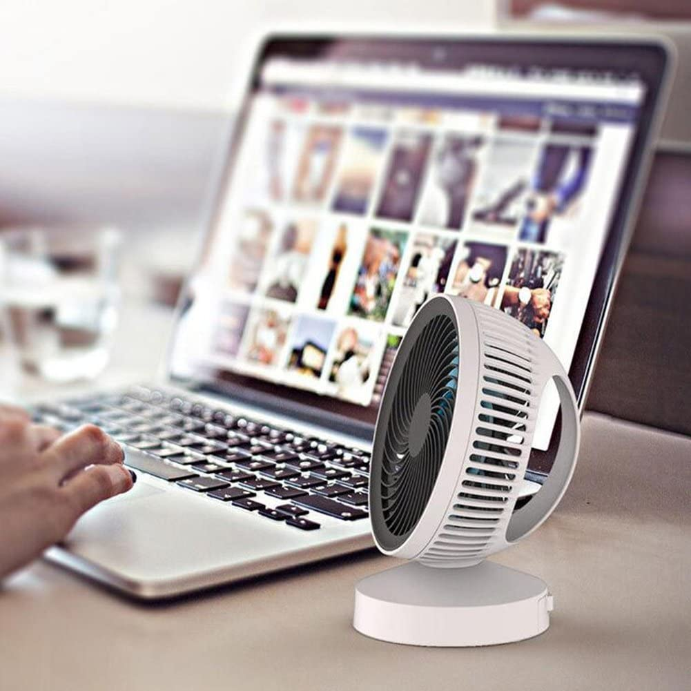 FJY Mini Fan Portable Handheld USB Desktop Personal Small Desk Fan Air Circulator for Table Work Home Outdoor Office Laptop Computer PC Notebook Traveling Camping white Silent Double Blades CM005