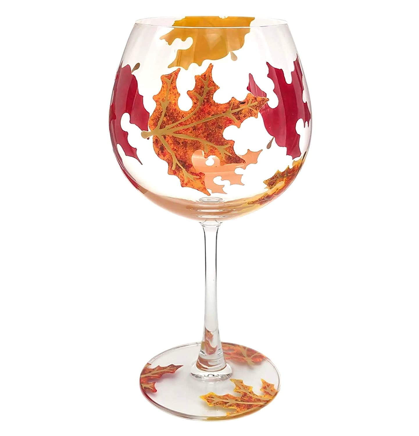 Hand Painted Orange Yellow Fall Maple Leaves Martini Glass Autumn Leaf 8 oz Red