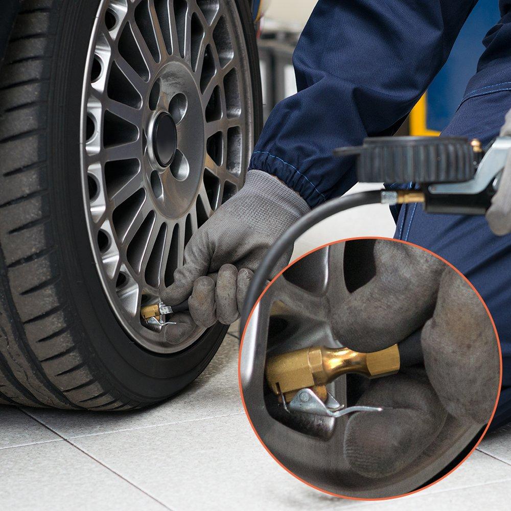 FineGood 2 pezzi Flusso chiuso su mandrini pneumatici per pneumatici con cappucci per valvole stelo del pneumatico mandrini pneumatici in ottone per compressore del manometro
