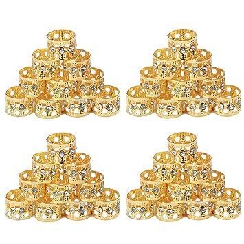 05d7156c15a Golden Rule 40 Pieces Dread Lock Dreadlocks Braiding Beads with Crystal  Golden Metal Cuffs Hair Accessories