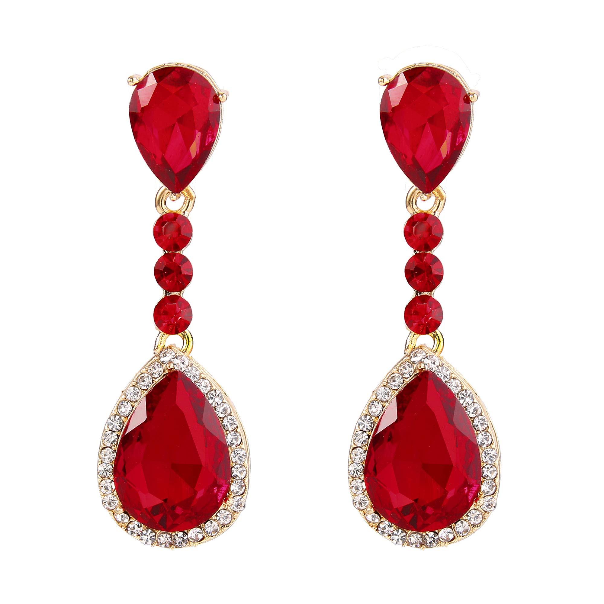 BriLove Gold-Toned Clip-On Dangle Earrings Women's Wedding Bridal Crystal Teardrop Infinity Figure 8 Chandelier Earrings Ruby Color