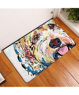 "YJBear Thin Colorful Puppy Dog Pattern Floor Mat Coral Fleece Home Decor Carpet Indoor Rectangle Doormat Kitchen Floor Runner 16"" X 24"""