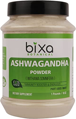 Ashwagandha Root Powder Withania Somnifera Root ,Indian Ginseng- Best Re-Energizer Immunity Booster Herbal Supplement for Improve Sleep by Bixa Botanical 16 Oz 1 Pound