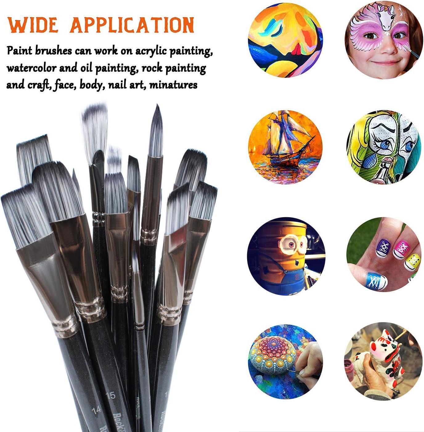 Huile Rock Ninja 15Pcs Artiste Pinceaux de Peinture Comprend Une Housse de Transport Amovible avec,pour Acrylique Aquarelle Gouache
