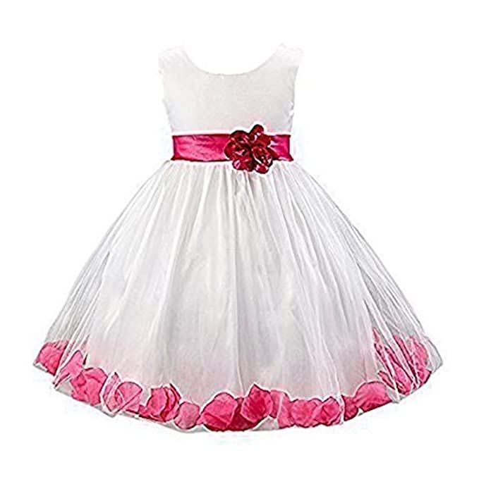 Live It Style It Girls 1 Rose Tulle Dress Flower Petals Princess Sleeveless Formal Party Wedding