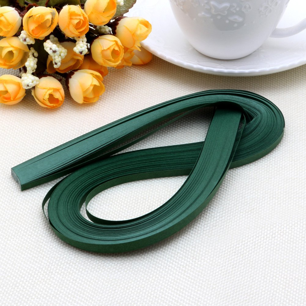 Dabixx 120 Stripes Quilling Paper 5mm Width Solid Color Origami Paper DIY Hand Crafts Dark Green 52cm/20.47