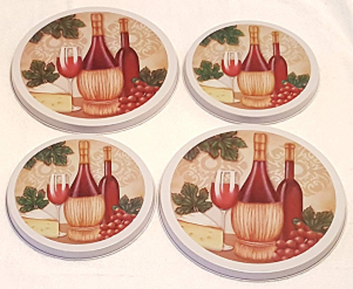 Burner Covers ~ Wine, Grapes, Cheese ~ Set of 4