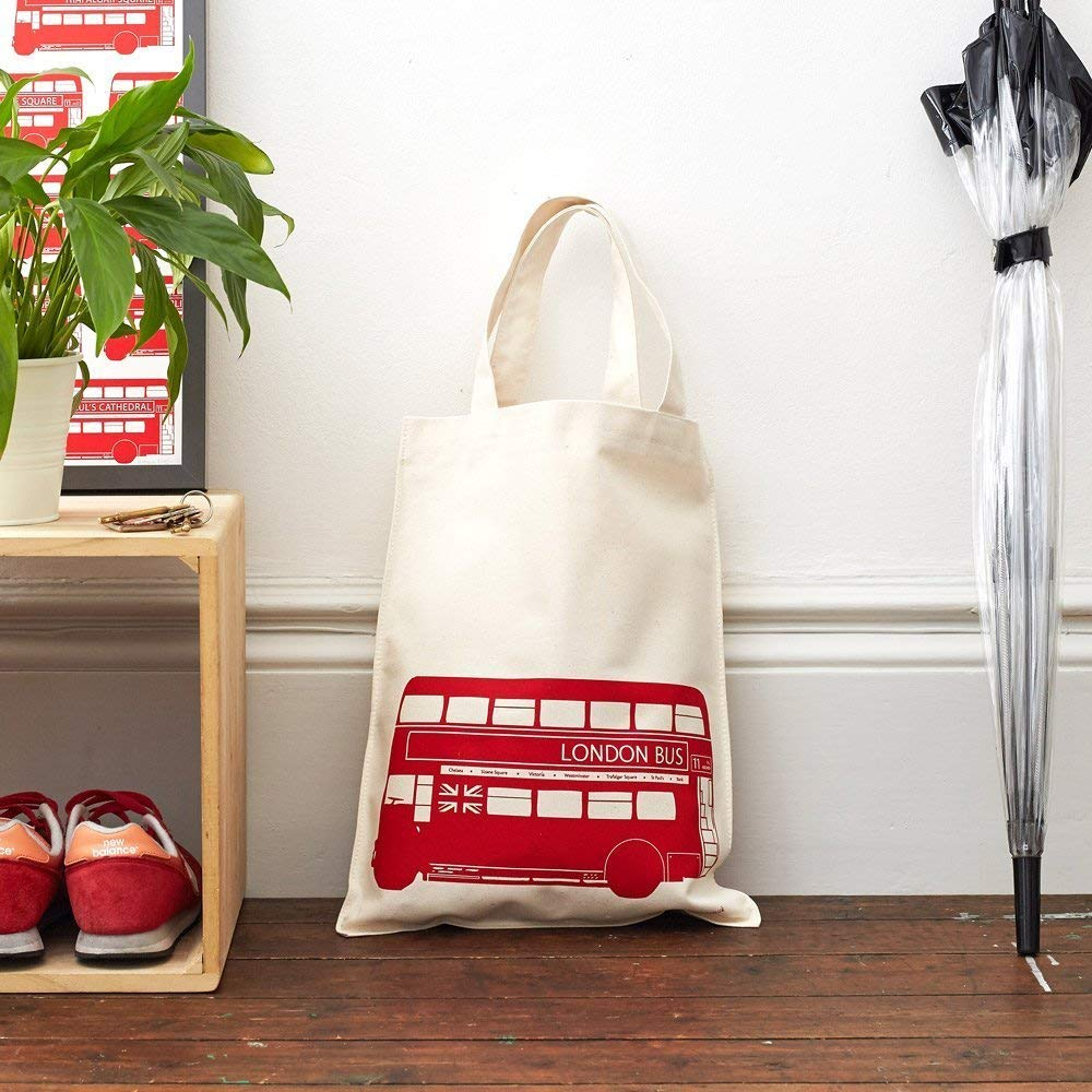 London Bus Canvas Bag/Shopping Tote - 100% Cotton - Made in Britain